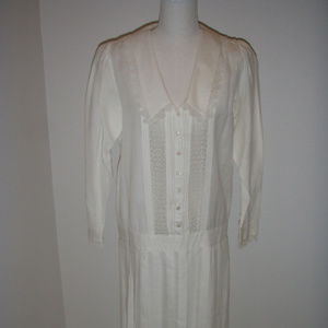 Vintage White Lace Accented Dropped Waist Dress